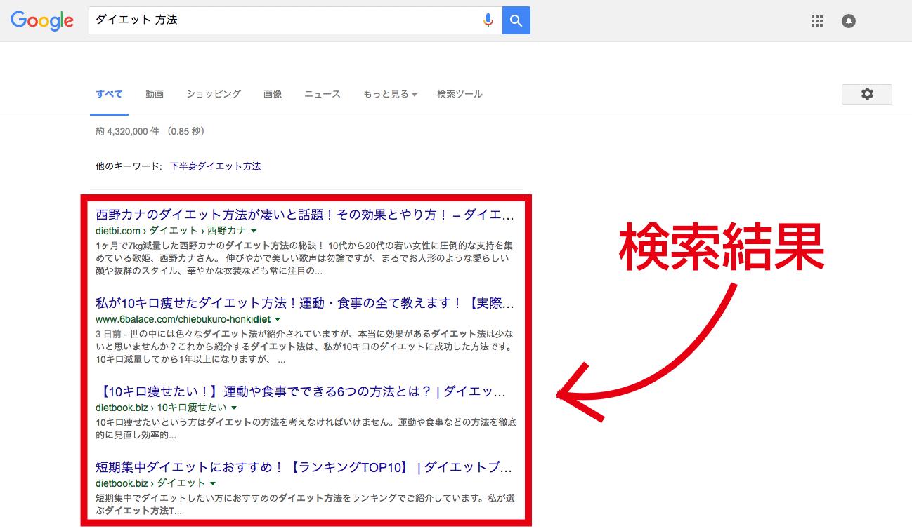 SEOでの検索結果画面