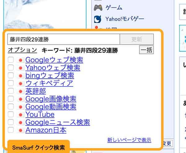 SmaSurf クイック検索の仕方