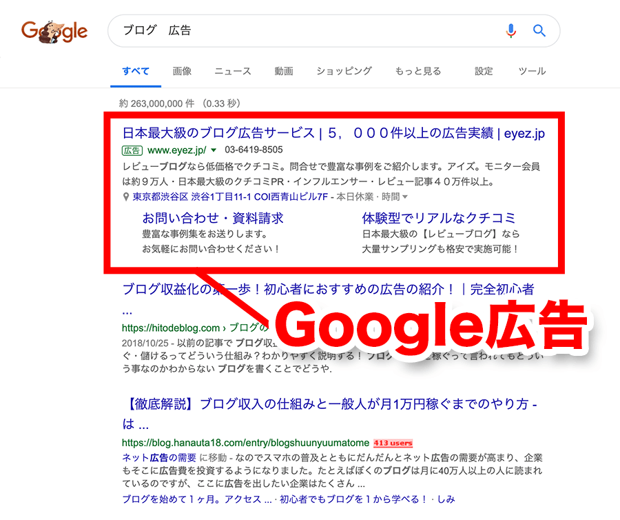 Google広告の位置