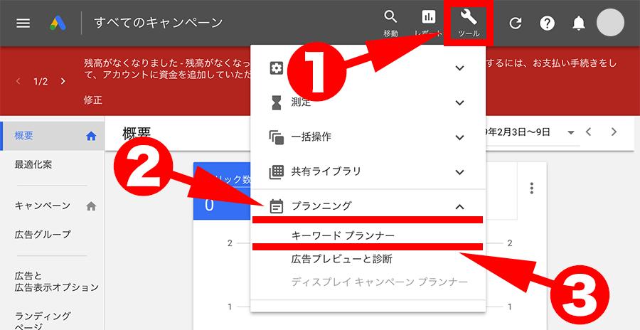 キーワードプランナー画面へ移動する手順2